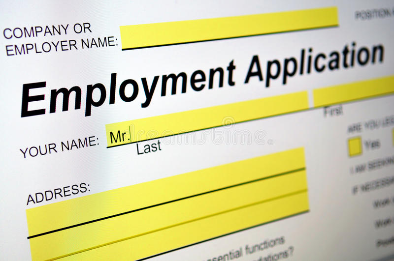 Employment Application. On computer screen stock photo