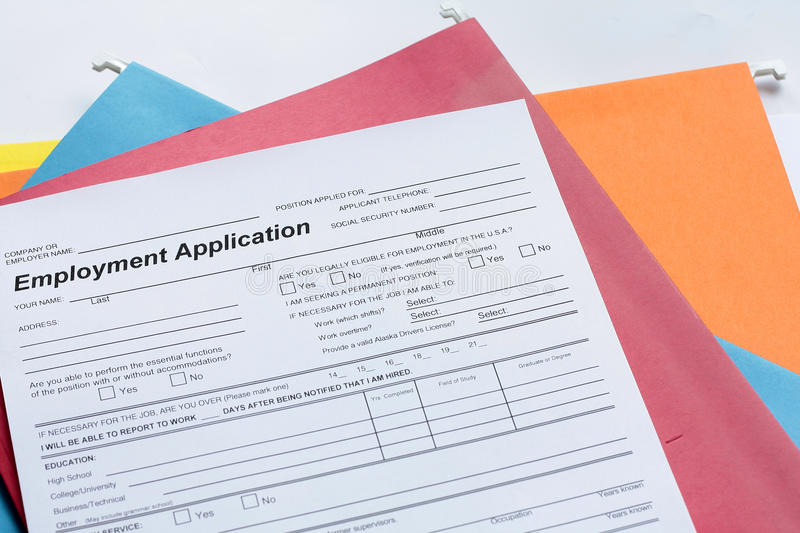 Download Employment Application Form Stock Image - Image: 13442775