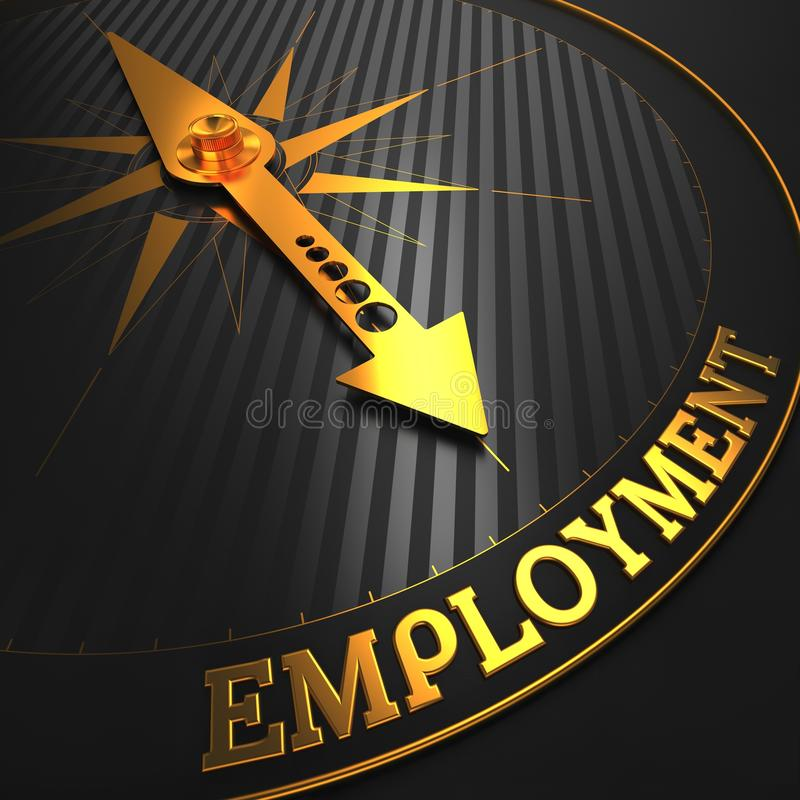 Employment. Business Concept. Employment - Business Concept. Golden Compass Needle on a Black Field Pointing to the Word Employment. 3D Render royalty free illustration