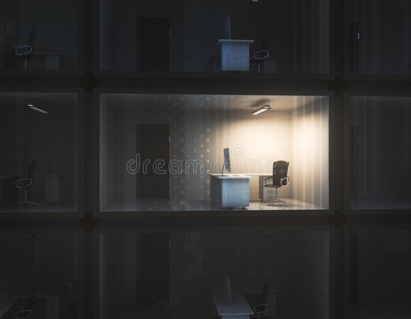 Employment concept. Abstract small illuminated container office at night. Employment concept. 3D Rendering vector illustration