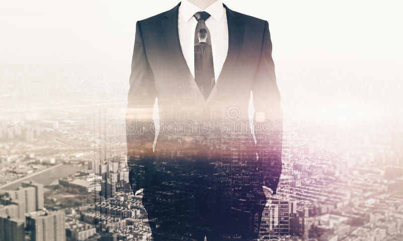 Employment concept. Businessperson in suit on city background. Double exposure. Employment concept vector illustration