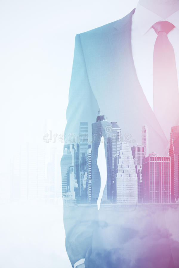 Employment concept. Male in suit on city background. Double exposure. Employment concept stock illustration