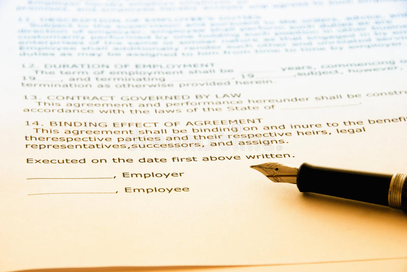 Download Employment contract stock photo. Image of agreement, information - 13953548