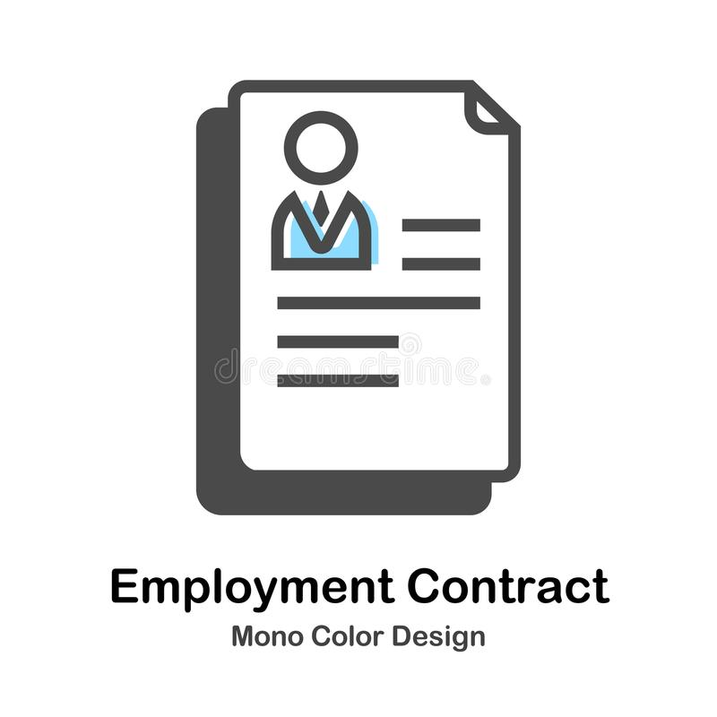 Employment Contract Mono Color Illustration. Employment Contract Icon In Mono Color Design Vector Illustration stock illustration