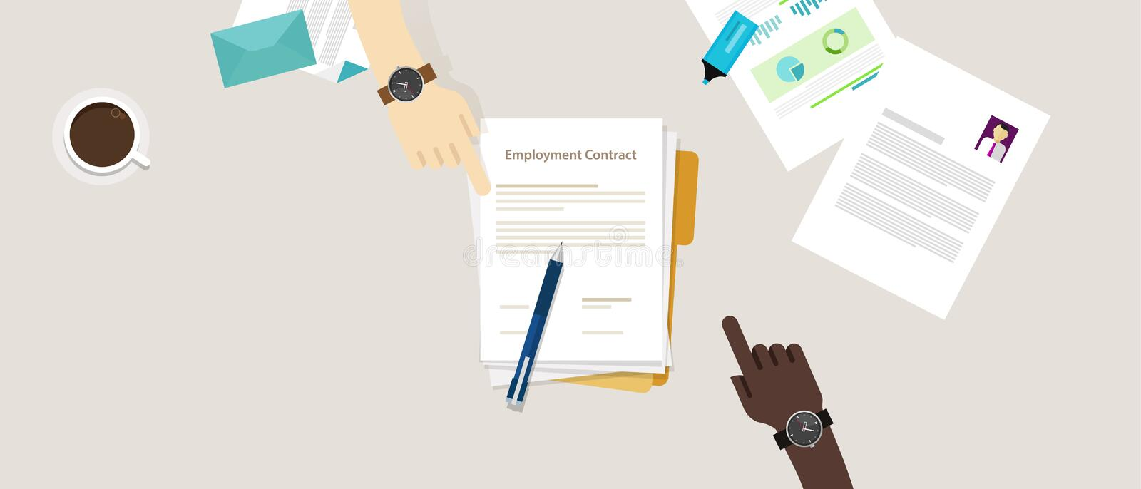 Employment contract paper document desk and hand human resources royalty free illustration