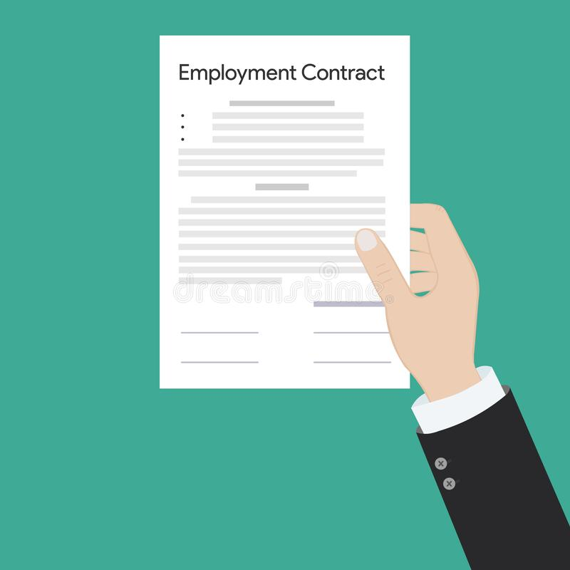 Employment contract paper document vector illustration