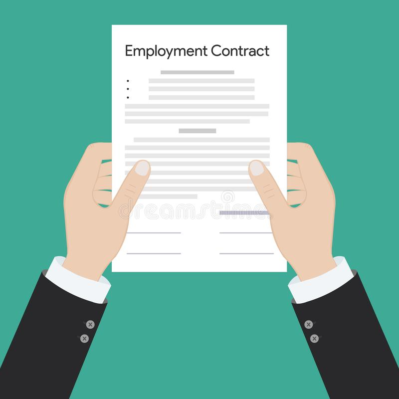 Employment contract paper document royalty free illustration