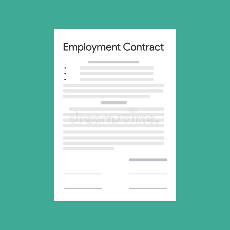 Employment contract paper document. Vector royalty free illustration