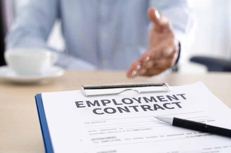 Employment contract signing job deal Recruitment concept stock photos