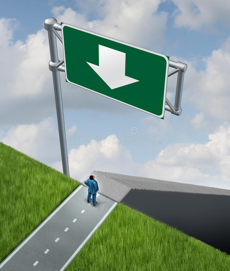 Employment Demotion. As a businessman at a crossroads in his career with a down arrow on a highway sign guiding the employee down a set of stairs being demoted vector illustration