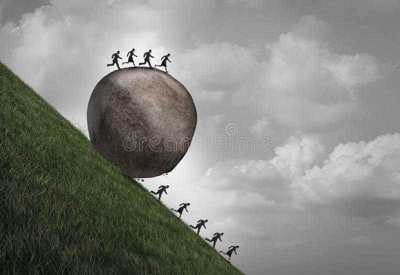 Employment Inequality Concept. As a group of people running away from a rolling boulder with businesspeople on top as a metaphor for oppressive human resource stock illustration