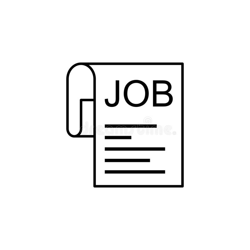 Employment, job, paper icon on white background. Can be used for web, logo, mobile app, UI, UX. On white background vector illustration