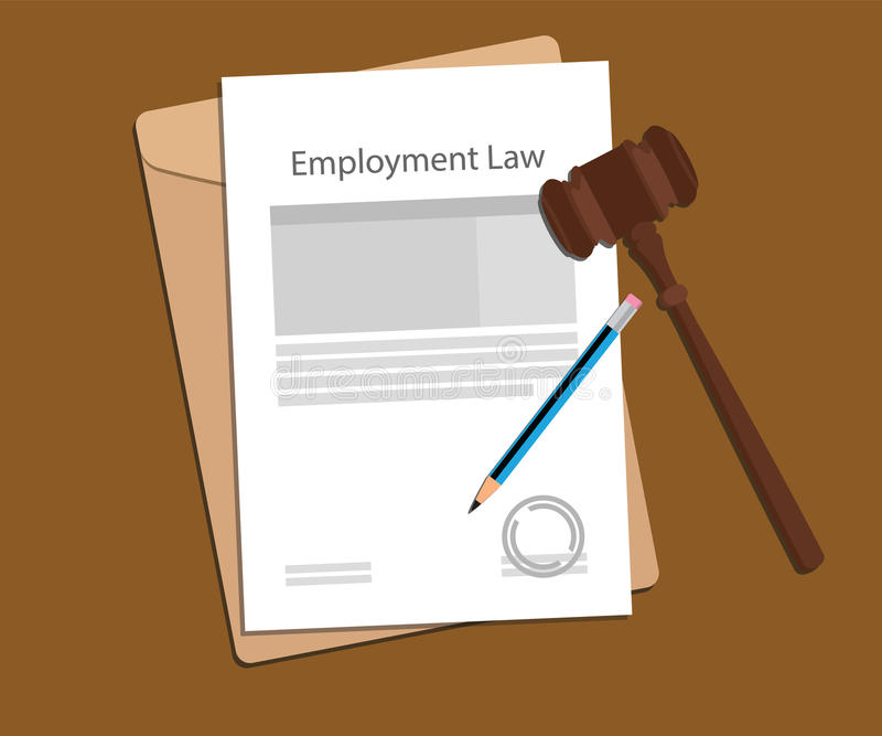 Employment law concept illustration with paperworks, pen and a judge hammer. Vector stock illustration