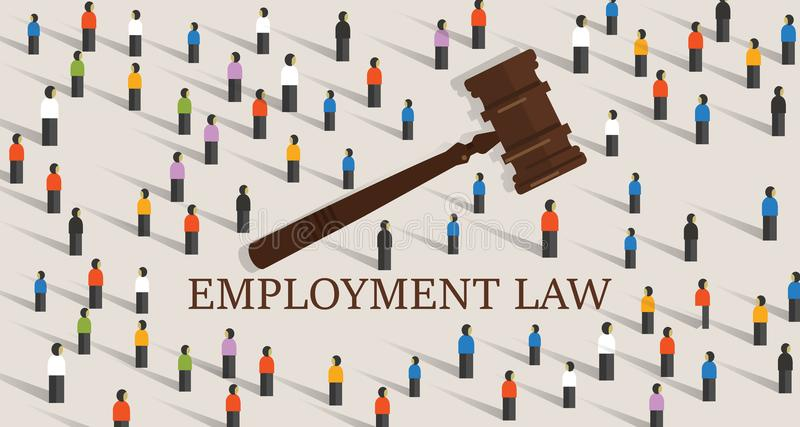 Employment law labor legislation a gavel and people cowd. concept of legal education. stock illustration
