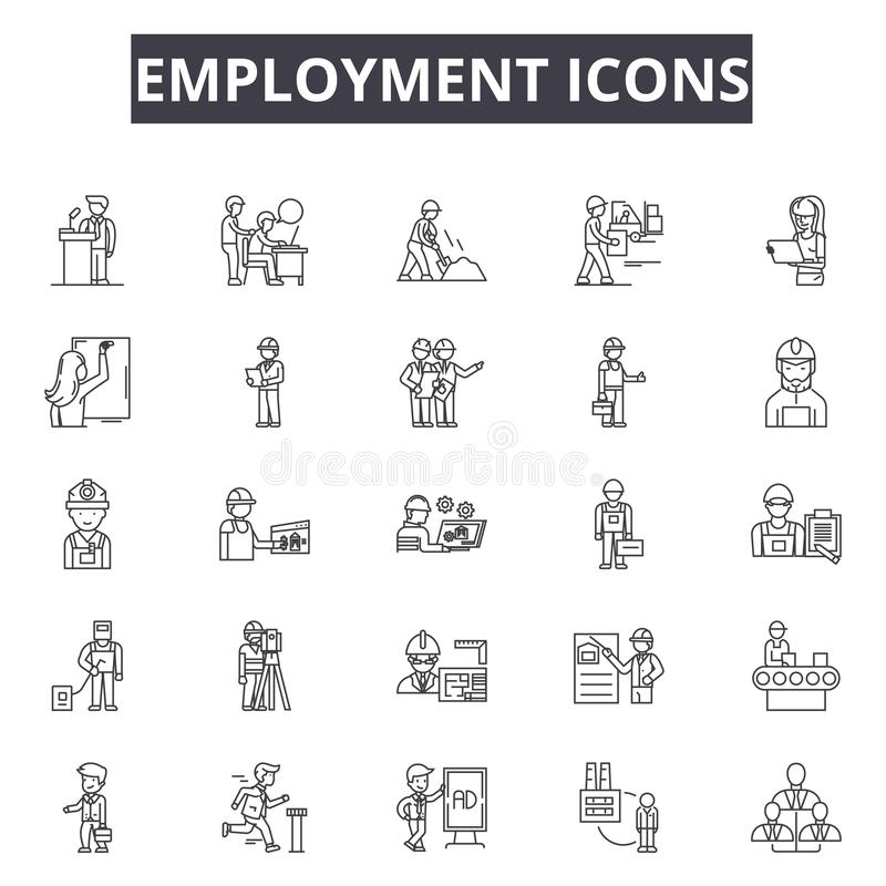 Employment line icons, signs, vector set, outline illustration concept. Employment line icons, signs, vector set, outline concept illustration stock illustration