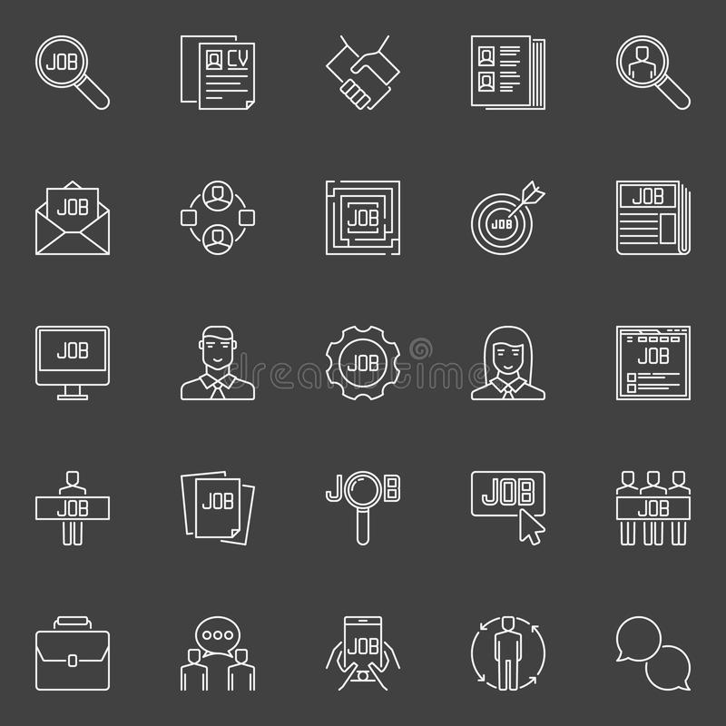 Employment line icons. Vector collection of outline recruitment and job search symbols on dark background royalty free illustration