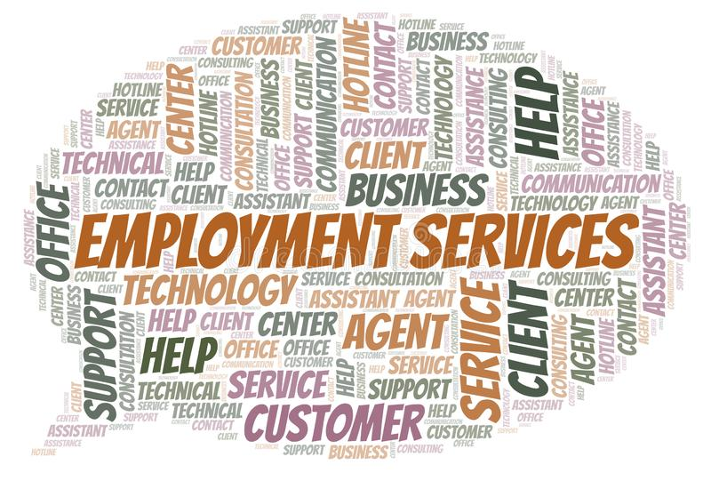 Employment Services word cloud. Wordcloud made with text only vector illustration