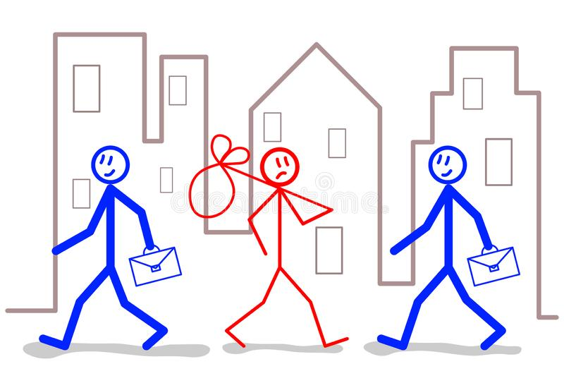 Employment and unemployment: out of work job search - concept illustration.  royalty free illustration
