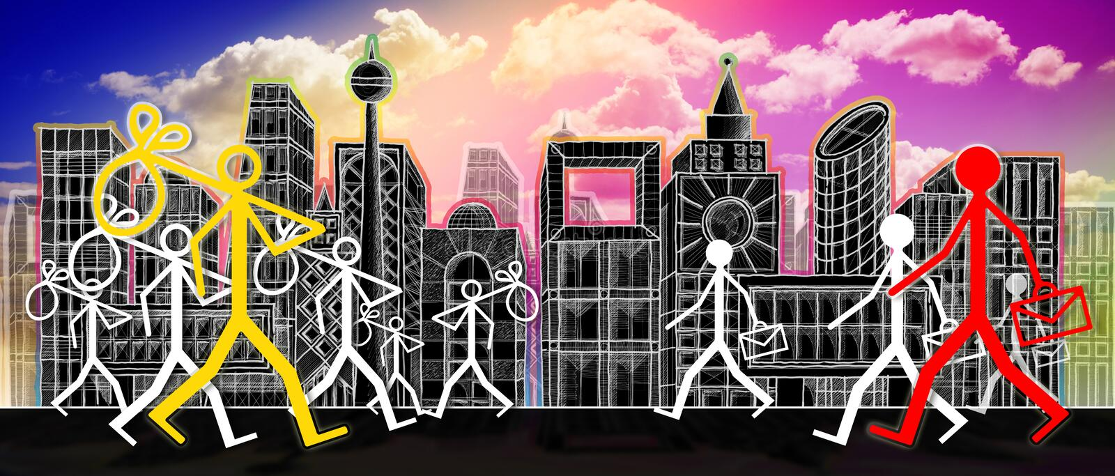 Employment and unemployment: out of work job search - concept image on city background.  royalty free illustration