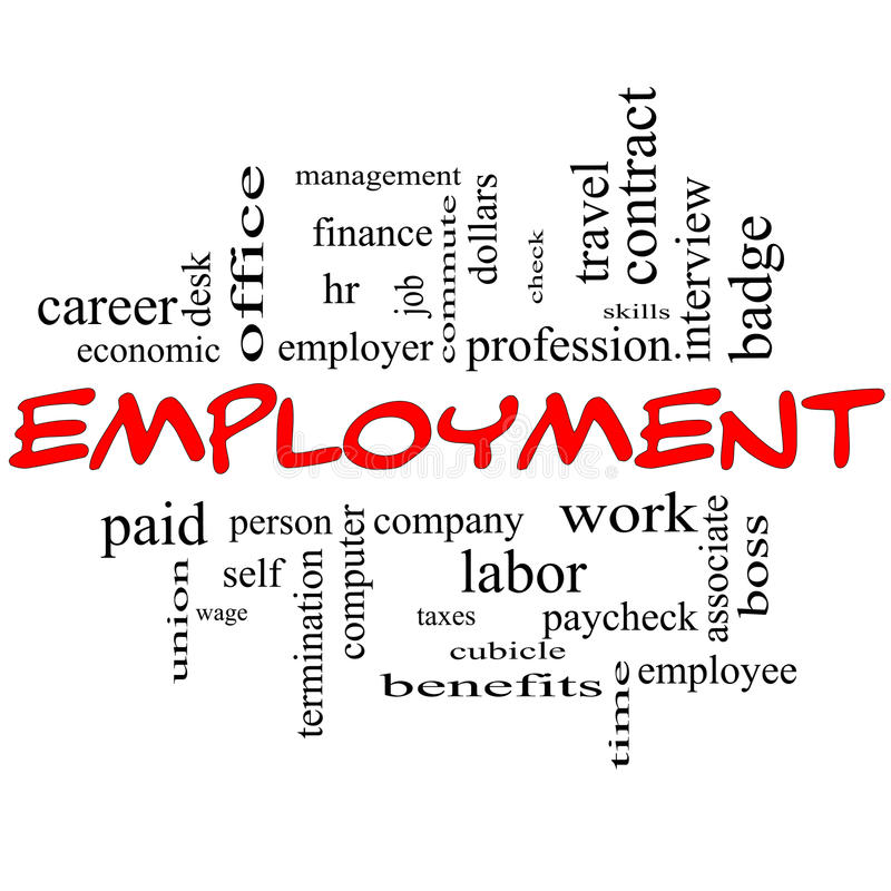 Employment Word Cloud Concept in red caps. With great terms such as work, company, boss, job and more vector illustration