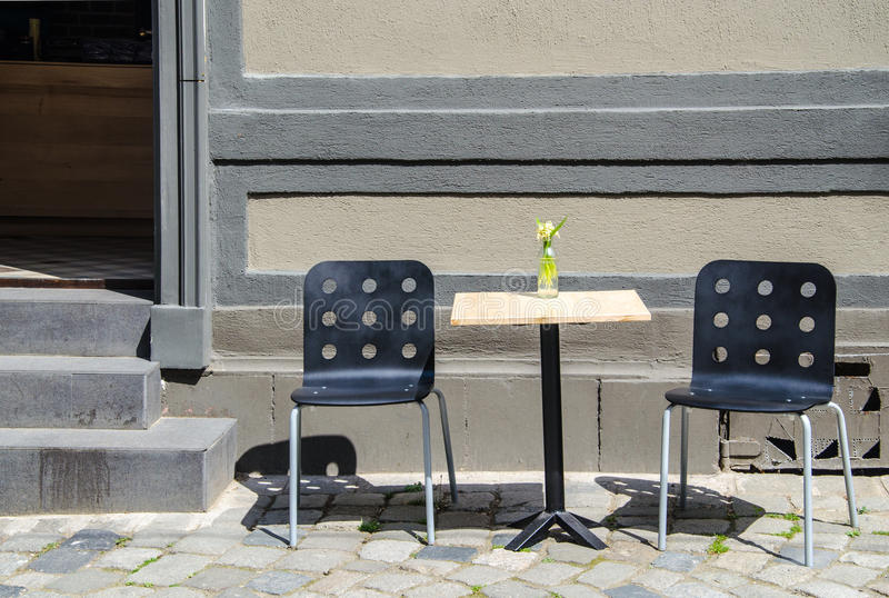 Emplty table on the street stock image