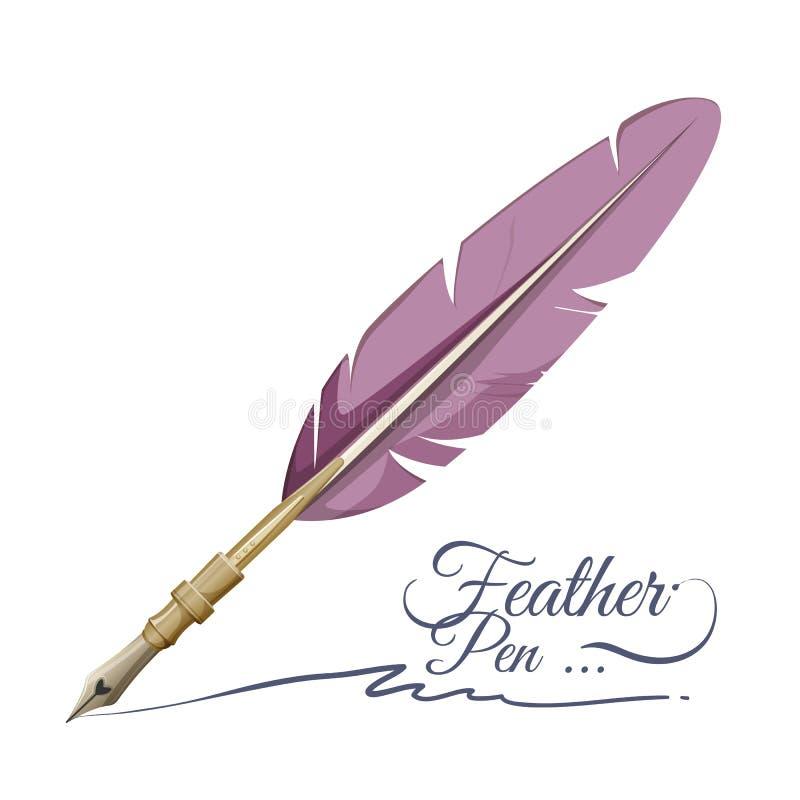 Emplume el instrumento de escritura de la pluma hecho de plumas del pájaro stock de ilustración