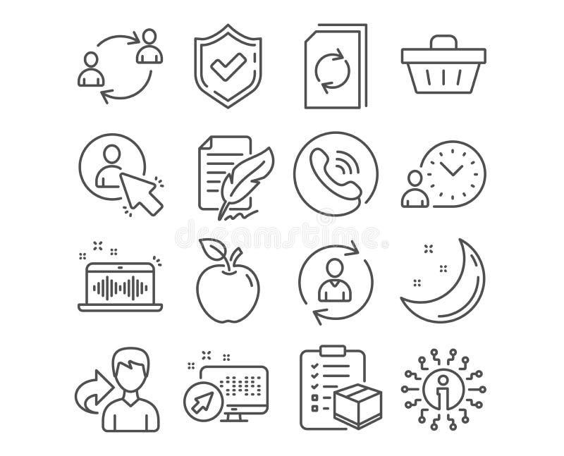 Emplume la firma, la cesta de compras y los iconos de la información de la persona La comunicación del usuario, del usuario y la  ilustración del vector