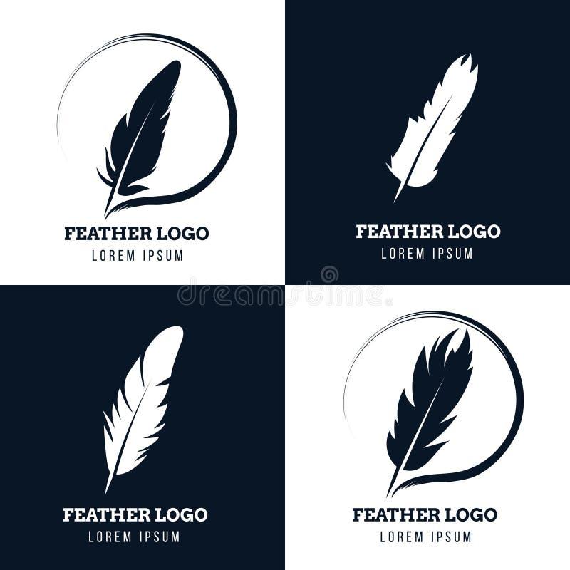 Emplume, pluma elegante, bufete de abogados, abogado, logotipos literarios del vector del escritor fijados libre illustration