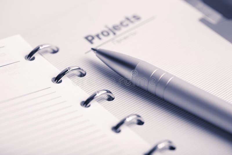 Empochez le planificateur et le crayon lecteur image libre de droits