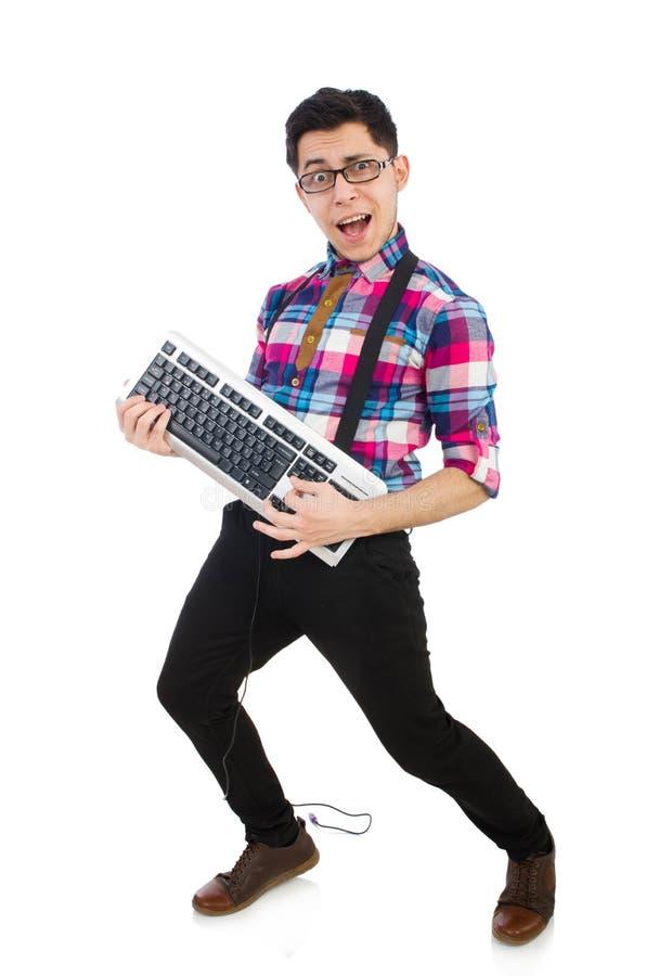 Empollón del ordenador con el teclado aislado fotos de archivo libres de regalías