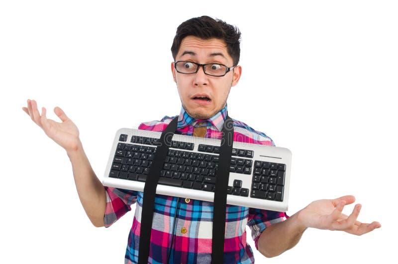 Empollón del ordenador con el teclado aislado fotos de archivo