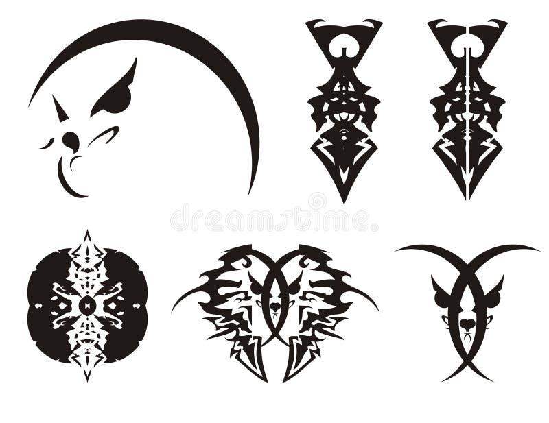 Emporgeragter abstrakter Adlerkopf, der Kopf einer Katze und Klingen - Stammes- Symbole vektor abbildung
