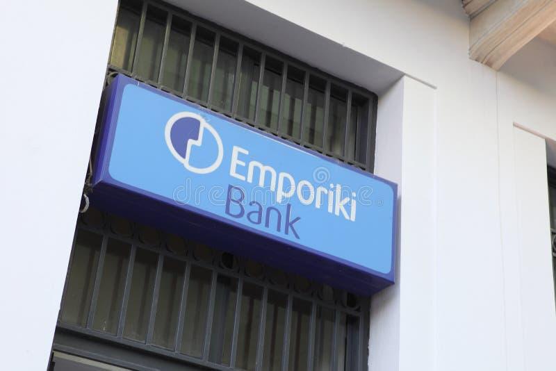 Emporiki bank sign. Heraklion, Crete, Greece - July 27, 2010... The sign on a branch of Emporiki Bank in Heraklion (Iraklio), Crete. Greek banks are facing royalty free stock image