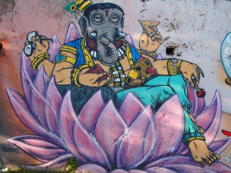 Emporkommende städtische Graffiti- und Straßenkunstszene in Lissabon, Portugal, 2014 stockfoto