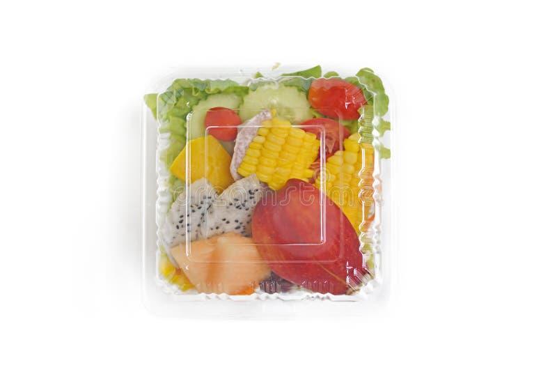 Emportez la salade saine en paquet en plastique images libres de droits