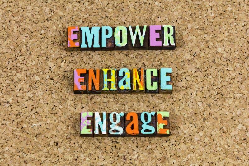 Empower att förhöja för att koppla in ledarskap royaltyfria foton