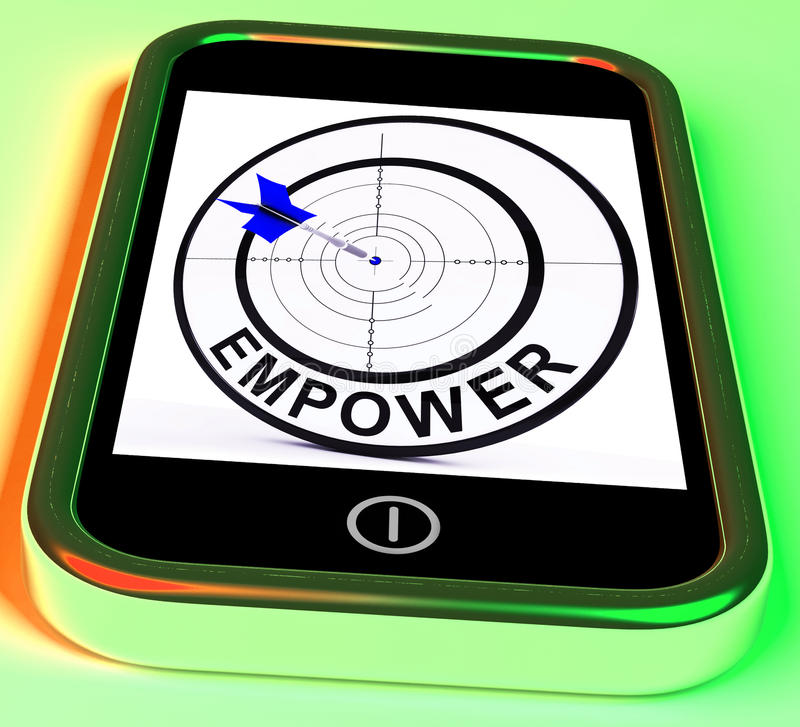 Empower Smartphone Means Provide Tools. Empower Smartphone Meaning Provide Tools And Encouragement vector illustration