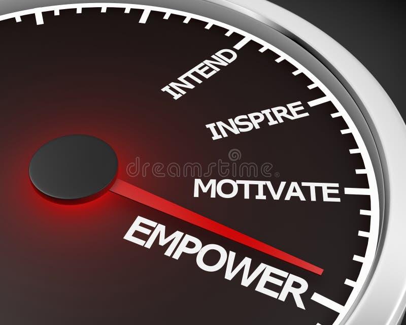 Empower. Speedometer 3d Illustration rendering royalty free illustration