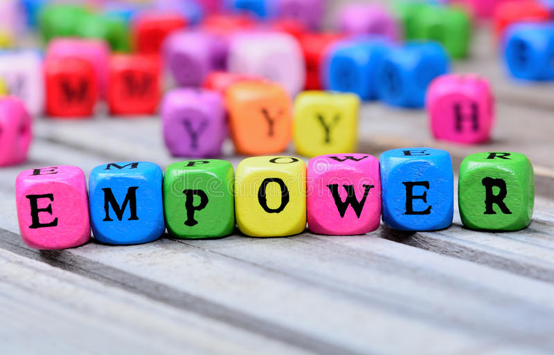 Empower word on table royalty free stock images