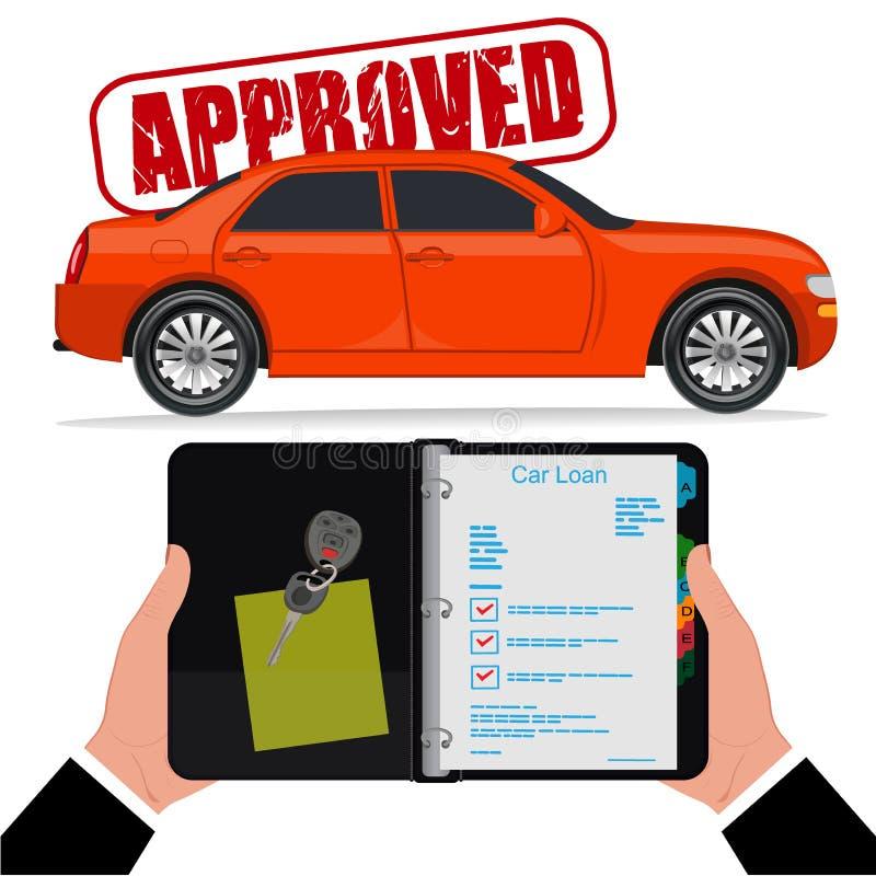 Empréstimo automóvel aprovado, ilustração do vetor, estilo liso ilustração stock