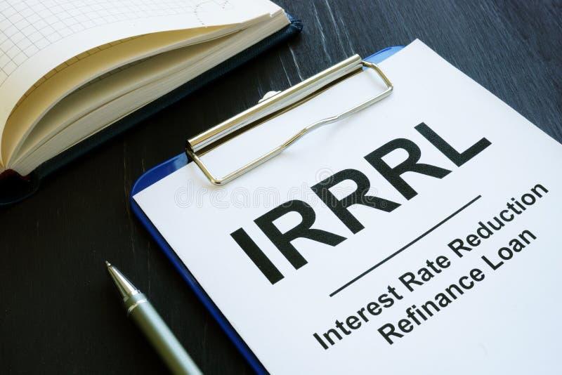 Empréstimo de refinanciamento de redução de taxas de juro IRRRL fotografia de stock