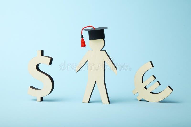 Empréstimo do dinheiro para a educação Conceito do fundo da faculdade e da academia imagens de stock royalty free
