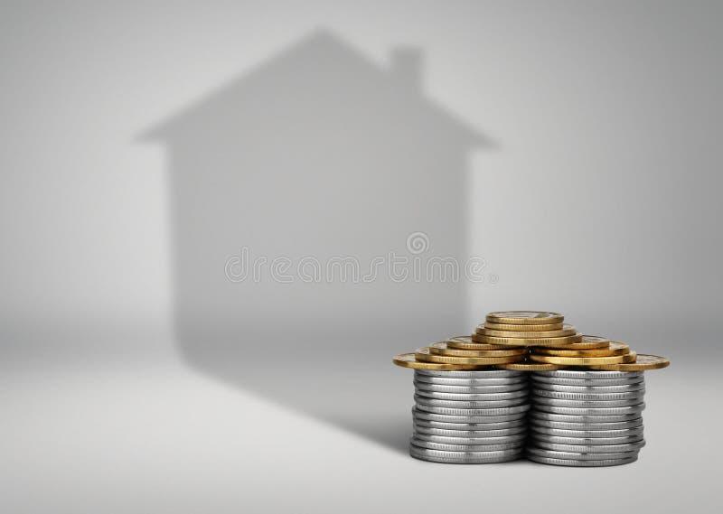 Empréstimos de bens imobiliários conceito, dinheiro com sombra home imagens de stock