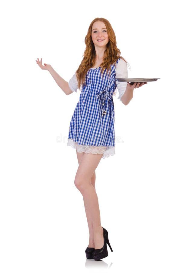 Empregada de mesa atrativa agradável imagem de stock