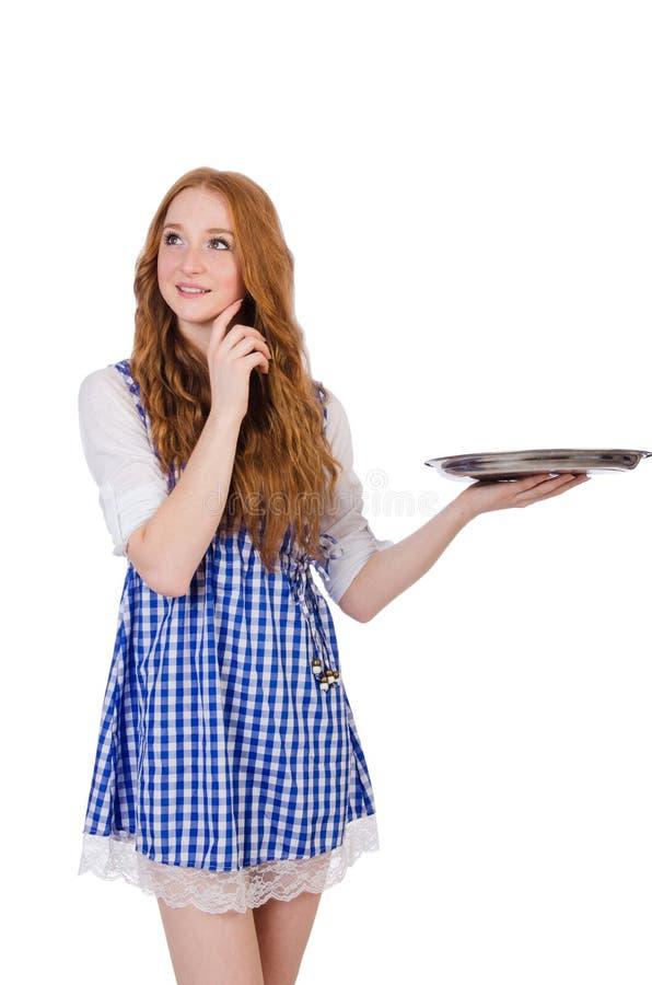 Empregada de mesa atrativa agradável isolada imagem de stock
