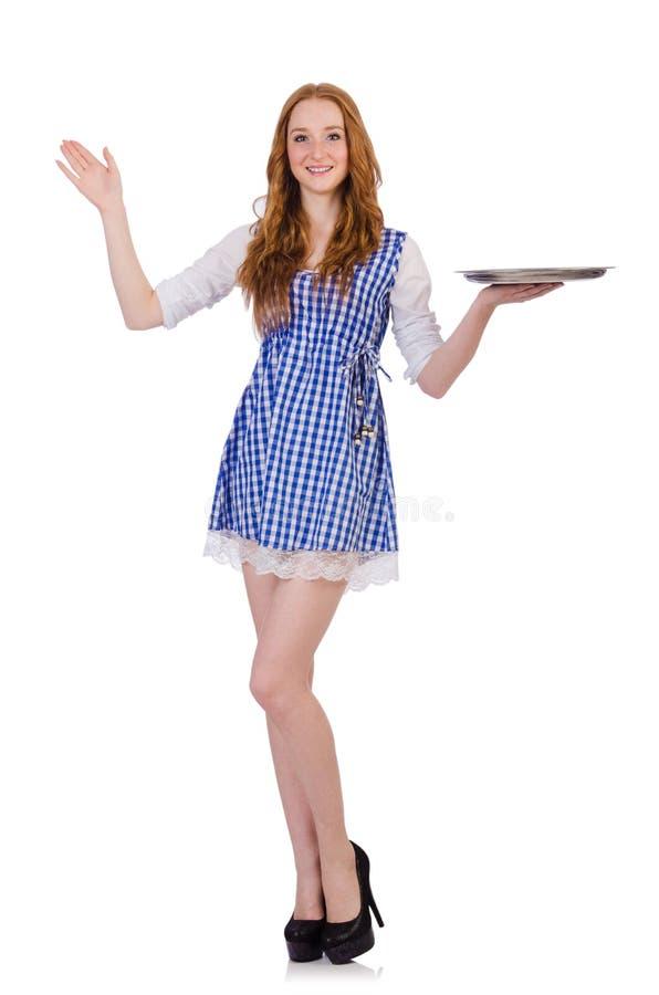 Empregada de mesa atrativa agradável isolada foto de stock
