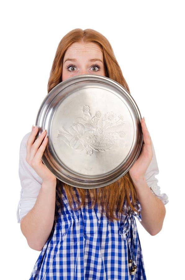 Empregada de mesa atrativa agradável isolada imagem de stock royalty free