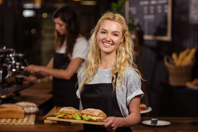 Empregada de mesa bonita que guarda uma bandeja com sanduíches imagem de stock royalty free