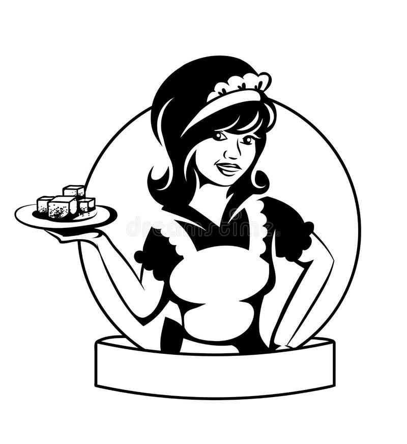 Empregada de mesa com um prato ilustração do vetor