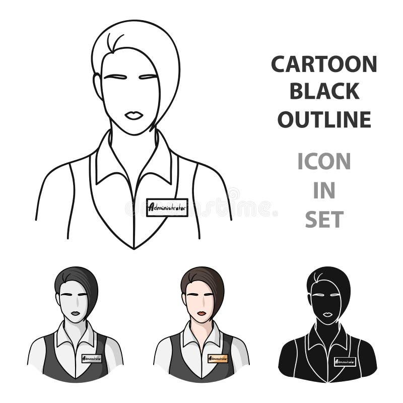 Empregada de mesa do restaurante com um ícone do crachá no estilo dos desenhos animados isolado no fundo branco Vetor do estoque  ilustração royalty free